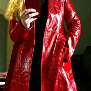 LPA Red Patent Leather Cropped Belted Trench Coat